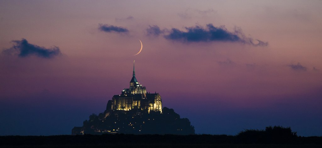 Crescent Moon over Mont-Saint-Michel