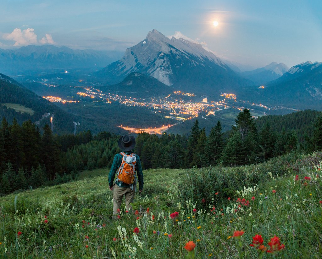 Moonrise over Rundle